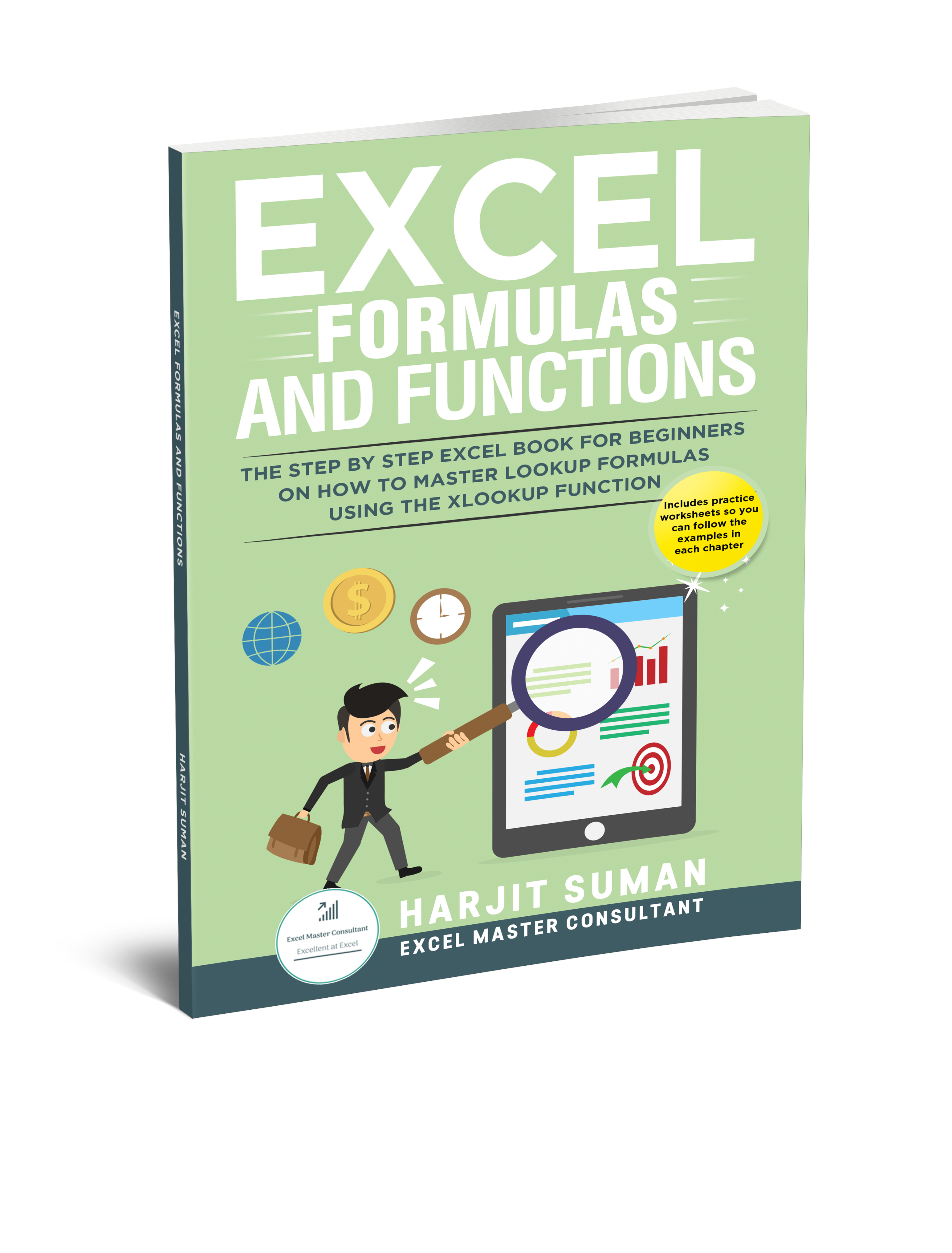 The front cover of Excel Formulas and Functions: The Step by Step Excel Book for Beginners on how to Master Lookup Formulas using the XLOOKUP Function book written by Harjit Suman