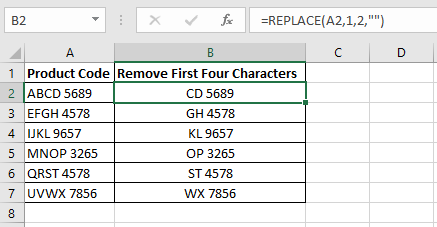 Excel formula in column B to remove the first two characters from the product codes in column A using the Excel REPLACE function
