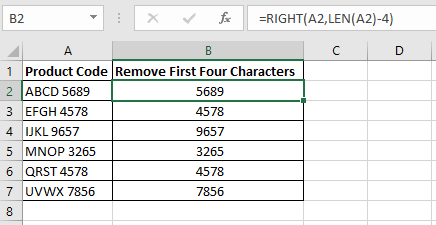 Excel formula using the RIGHT and LEN functions in column B to remove the first four characters from the product codes in column A