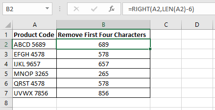 Excel formula in column B using the RIGHT and LEN functions to remove the nth character from the product codes in column A