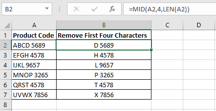 An Excel formula in column B to remove the first three characters from the product codes in column A using the Excel RIGHT and LEN functions