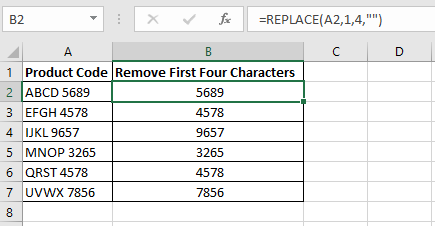 Excel formula in column B to remove the first four characters from the product codes in column A using the Excel REPLACE function