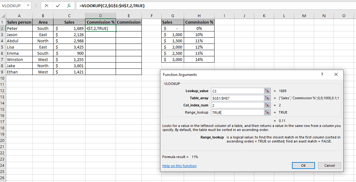 Function arguments dialog box in an Excel spreadsheet which shows each argument filled in