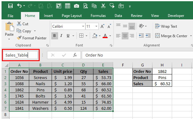 A table in the range A1:E7 is being named Sales_Table using the Name Box