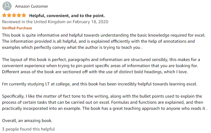 Amazon review of Excel Formulas and Functions: The Complete Excel Guide For Beginners book