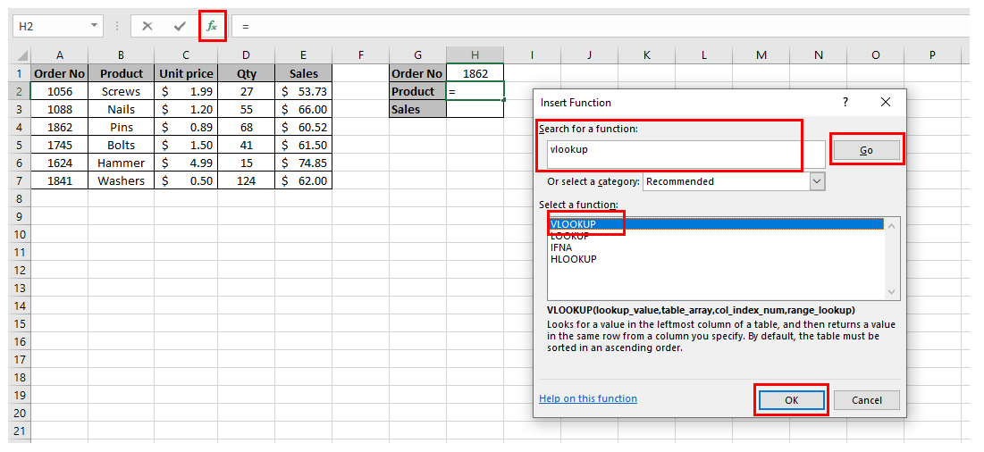 Insert function dialog box in an Excel spreadsheet with the VLOOKUP function selected