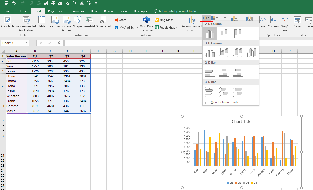 Excel worksheet which shows a 2-D clustered Excel chart being selected