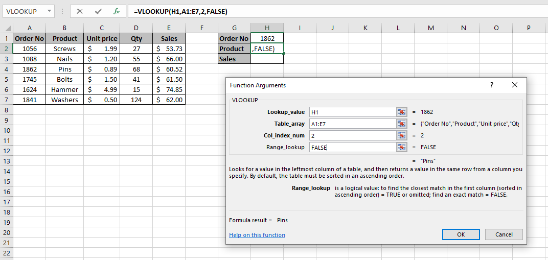 Function arguments dialog box in an Excel spreadsheet which shows how to enter each argument in the VLOOKUP function for an exact match