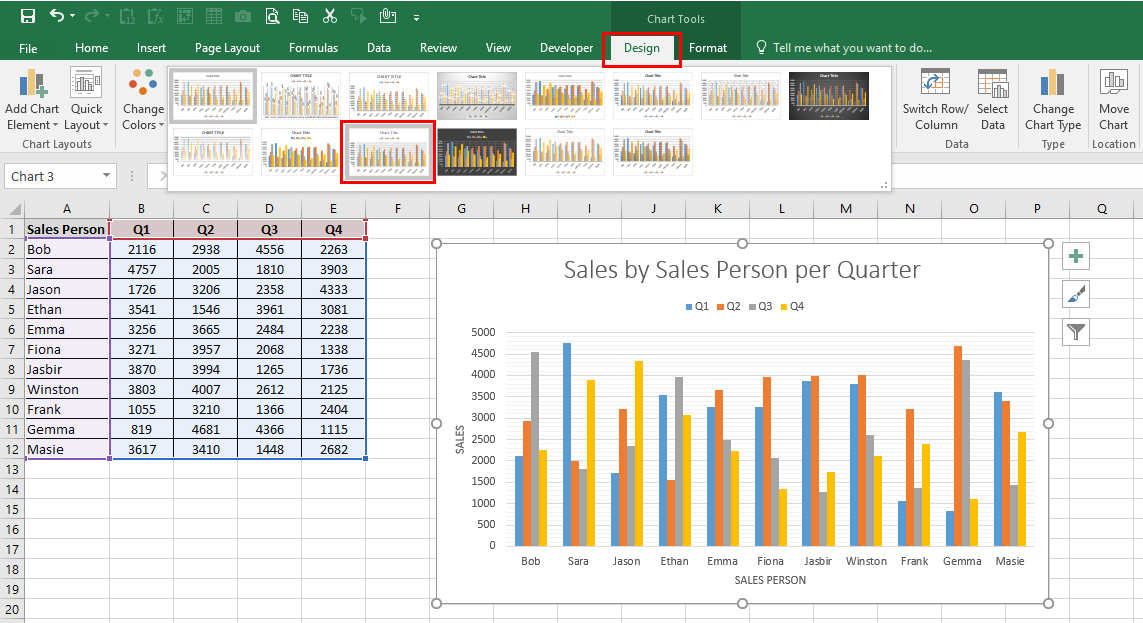Worksheet containing an Excel chart with the DESIGN tab and the chart style 11 being highlighted