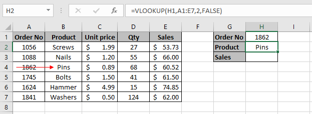 VLOOKUP formula entered in cell H2 to extract the product type using the lookup value of the order number in cell H1