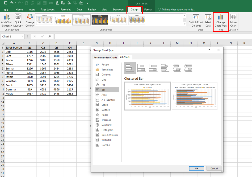 Worksheet and the Design tab and the Change Chart Type command button being highlighted