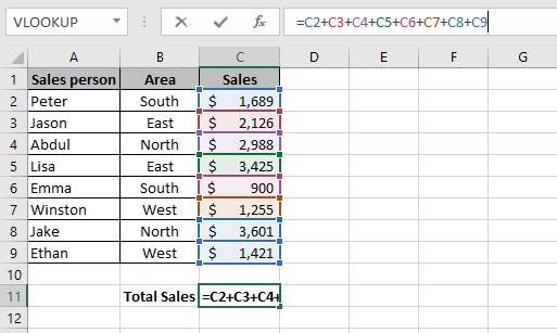 An Excel formula that shows how to sum a column in Excel using the plus sign