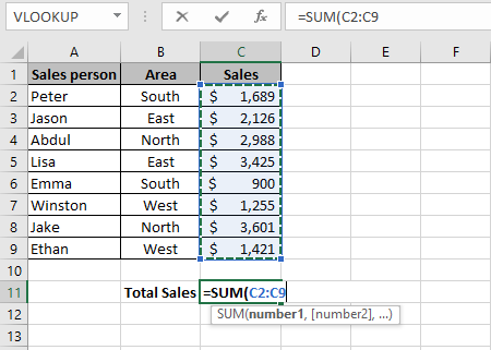 An Excel formula that shows how to sum a column in Excel using the Excel SUM function