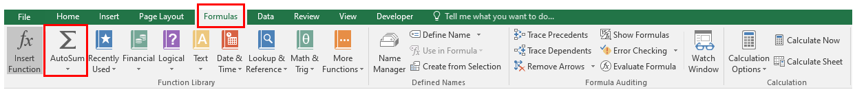 Excel ribbon where the Formulas tab and the AutoSum command button is highlighted