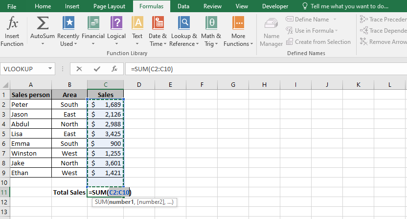 An Excel formula that shows how to sum a column in Excel using the Excel AutoSum function