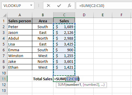 An Excel formula that shows how to sum a column in Excel using the Excel AutoSum keyboard shortcut