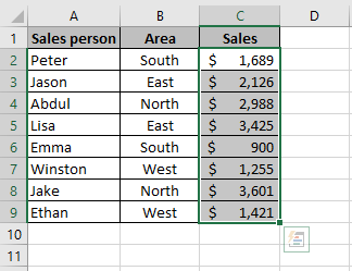 An Excel formula that shows how to sum a column in Excel using the Excel status bar