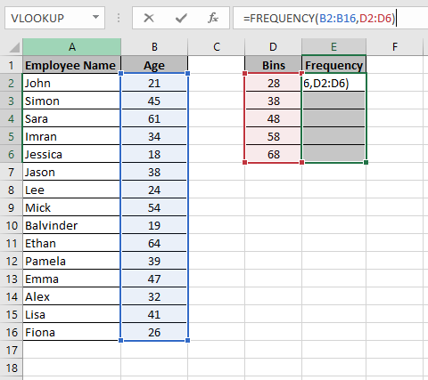 Excel Frequency formula entered in the Formula bar which shows how to make a histogram chart in Excel