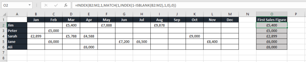 Excel table to show how to find the first non blank cell in a row